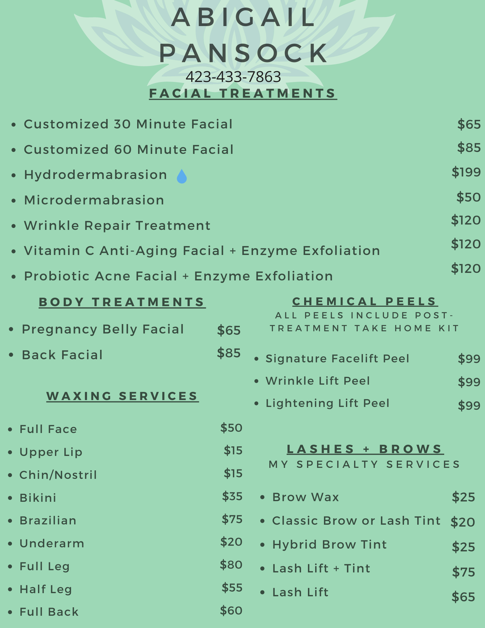 Abigail Pansock aesthetic services updated