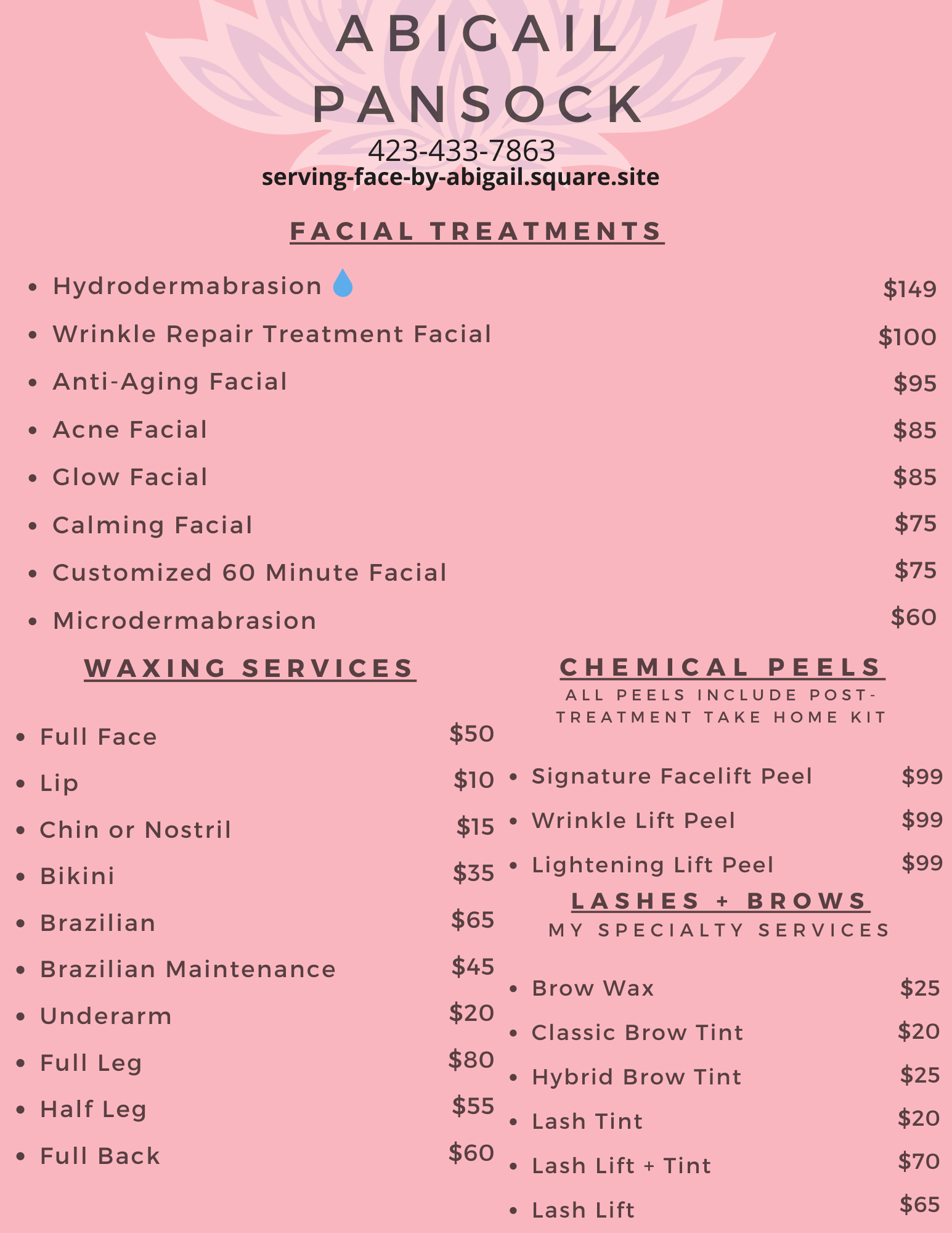 aesthetic services by Abigail Pansock